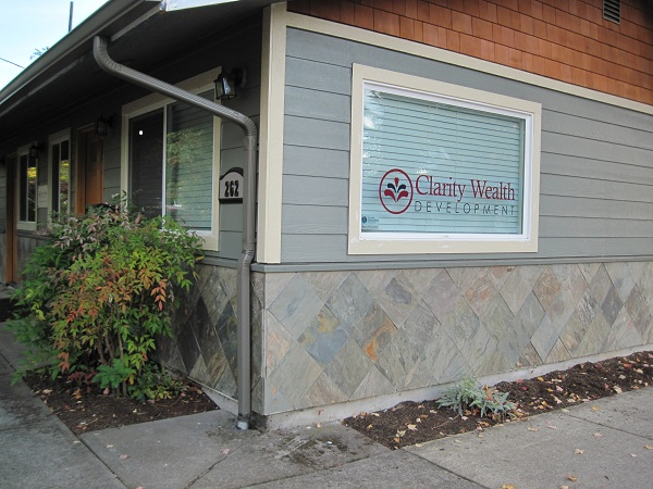 The newly remodeled Clarity Wealth Development office on Polk in Corvallis, Oregon, owned by financial advisor Kay Dee Cole.