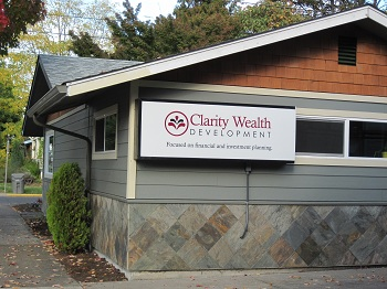Financial advisor Clarity Wealth Development sign in Corvallis, Oregon.